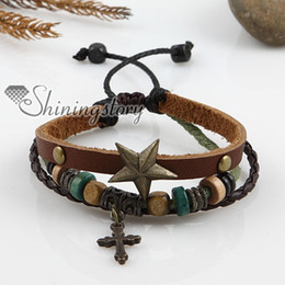 cross leather men bracelet charms bracelets hand made jewerly fashion jewelry