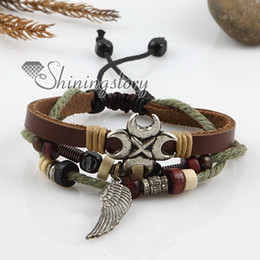 Wholesale Free size anchor alloy genuine leather dangle charm bracelets jewelry for men and women unisex