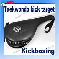 Wholesale 2012 High Quality PU Leather Taekwondo TKD wrist strap Portable Double Paddle Kicking Target Pad fre