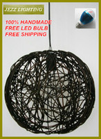 Art Deco rattan - FREE LED ALUMINUM M WIRE HANDMADE COUNTRY STYLE NATRUL RATTAN PENDANT LIGHT