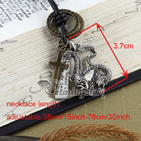 Unisex alchemy gothic pendant necklace - Dragon punk alchemy gothic necklaces men leather jewelry Fashion jewelry necklace