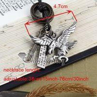 Unisex alchemy gothic pendant necklace - Eagle hawk punk alchemy gothic necklace mens leather jewelry Fashion jewellery