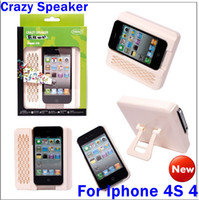 Wholesale Horn Crazy Speaker case With plastic Holder stand Amplifier Speaker For iphone S
