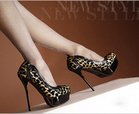 Wholesale Hot Sexy Women s Vogue Stiletto High Heel Shoes water proof Platform Leopard Round head Boots color