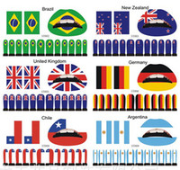 all face stickers - Fashion Lip Stickers Lip Sticker Nail Face Stickers National Flag Countries Sets
