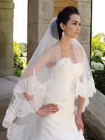 Wholesale White or Ivory Tulle Beaded Alencon Lace Trim Fingertips Length Bridal Veil Wedding Veils