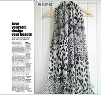Wholesale High grade velvet chiffon leopard grain scarf splicing silk scarf white fashion female silk
