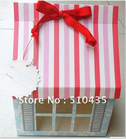 Wholesale pc cupcake box house cake box party box takeout box with ribbon pink