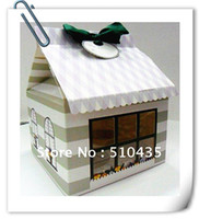 Wholesale pc cupcake box house cake box party box takeout box with ribbon purple design