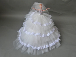 Wholesale Best Gift For Bride Top Lovely Barbie Doll With White lace Edge Bridal Dresses Sequins Net Hem Sexy