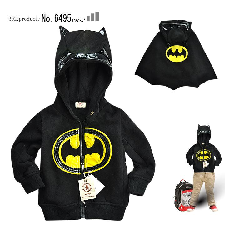 NINSMODA boys Jackets black Batman Cartoon clothes Thick Hooded coat