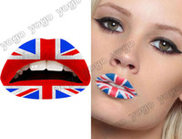 temporary lip tattoos - 10PC Trendy UK Flag Temporary Lip Tattoos Lips Sticker Transfer Lip Arts Glitter Funky Party LT1204