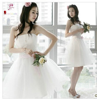 Wholesale Korean Strapless wedding dress skirt fashion bridal gown evening wear bridesmaid dress wedding dress