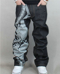 Wholesale Hip hop straight jeans male graffiti embroidery loose skateboards jeans