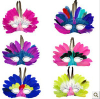 Wholesale Feather Party Mask Half mask halloween mask party mask QQF17