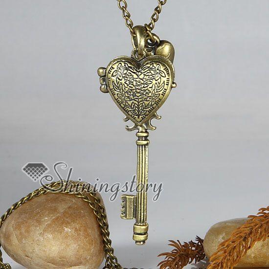 Wholesale Locket Key Brass Antique Style Long Chain