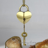 Wholesale Lock with key brass antique style long chain pendants necklaces jewelry for men and women unisex