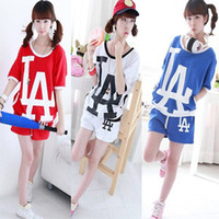 Wholesale women s leisure LA letter sportswear short sleeve T shirt shorts set blue white red