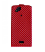 Wholesale Vertical Carbon Fiber Flip Leather Case Front amp Back Cover Skin For Sony LT15i Xperia Arc X12