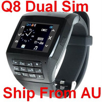 Wholesale Ship From Australia Unlocked Q8 Watch Cell Phone Mobile Dual Sim Card Dual Standby Touch Screen Cam