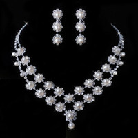 Wholesale Discount Promotion Dazzling Pearls Necklace with Earrings Handmake Rhinestones Bridal Jewelery