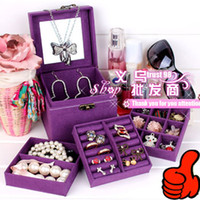 jewelry mirror - Jewelry storage Boxes Organizer cosmetic makeup box wooden necklace Earring box mirror Jewel Case