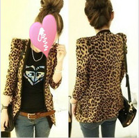 Wholesale 2014 Spring Women s Jacket Shoulder Pads Suede Fabric Leopard Print Suit Blazer high quality
