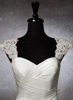 Wholesale Romantic exquisite beaded detachable cap sleeve lace wedding dress bolero wedding jacket AF