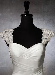 2015 Romantic exquisite beaded Bridal Wraps detachable cap sleeve lace wedding dress bolero wedding Bridal jacket AF-1227
