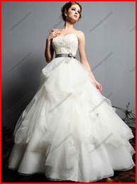 Wholesale Simple Sweetheart Sleeveless Embroidery Sashed Ivory Long Bridal Wedding Dress Ball Gown Summer