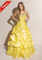 Wholesale Yellow Strapless Ball Gown Sweep Beads Sequin Contoured Taffeta prom Evening Dresses