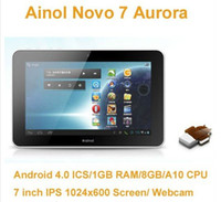Wholesale New Ainol Novo Aurora System Android ice cream sandwich Cortex A10 GHz DDR3 GHz RAM GBRo