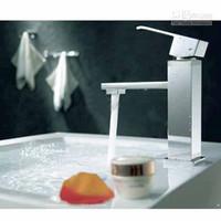 Stainless Steel bathroom vanity handles - Square Stainless Single Handle Kitchen Bathroom Waterfall Faucet Vanity Sink