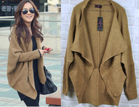 Wholesale 2013 New Style Women s Sweater Long Sleeve Cardigan Female Sweater Black Brown Color Outerwear