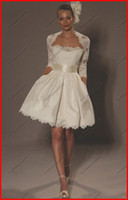 Wholesale Strapless Satin Mini Ball Gown Short Litter Ivory Wedding Bridal Dresses With Elbow Sleeves Jcket
