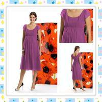 Wholesale Custom Made Short Pregnant Women Dresses Short Sleeve Knee Length Chiffon Maternity Dresses