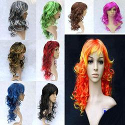 Wholesale Womens Synthetic Halloween Christmas Party Cosplay Show Curly Wave Fancy Dress Hair Wig
