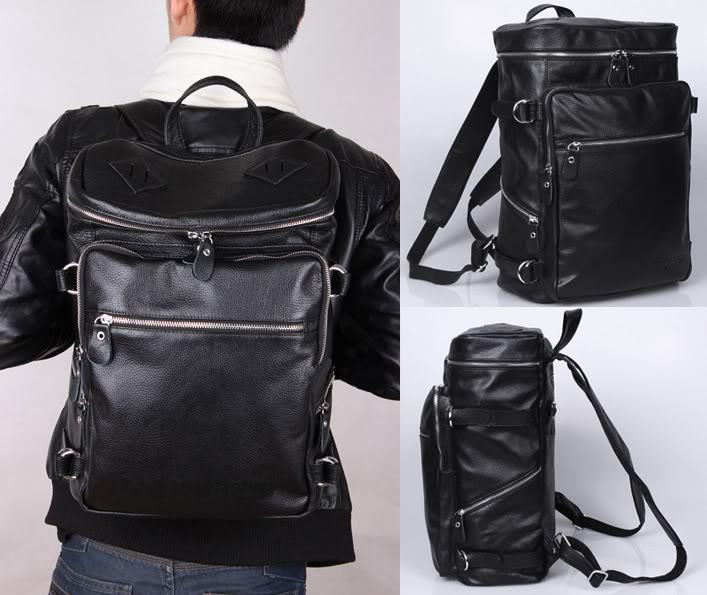 Black Brown Coffee Mens Genuine Real Bull Leather Backpack ...