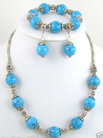 Wholesale Tibet Silver Turquoise Necklace Bracelet Earring Jewelry set
