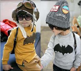 Wholesale boy s t shirt children long sleeve T shirt cotton terry Bat Round collar T shirts baby sweater