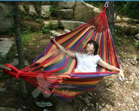 Nylon   Double camping hammock swing outdoor upset canvas hammock indoor recreational crane qwased
