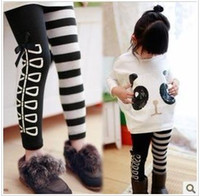 Wholesale Girl s leisure suits two piece Panda pattern loose t shirt bow stripe AB leggings
