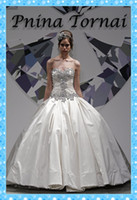 Wholesale Desigener Pnina Tornai Custom Made Sweetheart A line Floor Length Taffeta White Wedding Dress