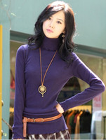 Wholesale Hot selling Lady s fashion wave collar Turtleneck Pullovers Crocheted long sleeve sweaters