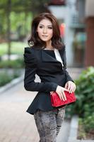 Wholesale OL Women Padded Puff shoulder Suit Jacket Short Coat Blazer black white M L je052