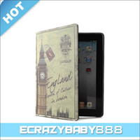 Wholesale Sights of Europ Sceneries Style Leather Case Cover For iPad2 iPad3 The New iPad