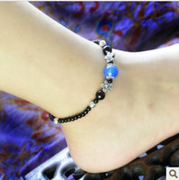Wholesale Natural blue agate black agate the Miao silver anklets female models