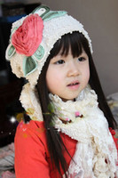 Wholesale Girls Lace Hat Scarf Suit Baby Flower Fashion Accessories Cap and Bib Pink White BH