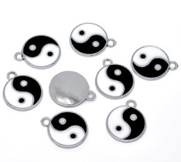 100pcs Silver Tone Enamel Yin Yang Charm Pendants 25x20mm