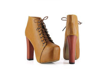 Wholesale Jeffrey Campbell thick with short boots waterproof Taiwan high heeled ankle boots lace
